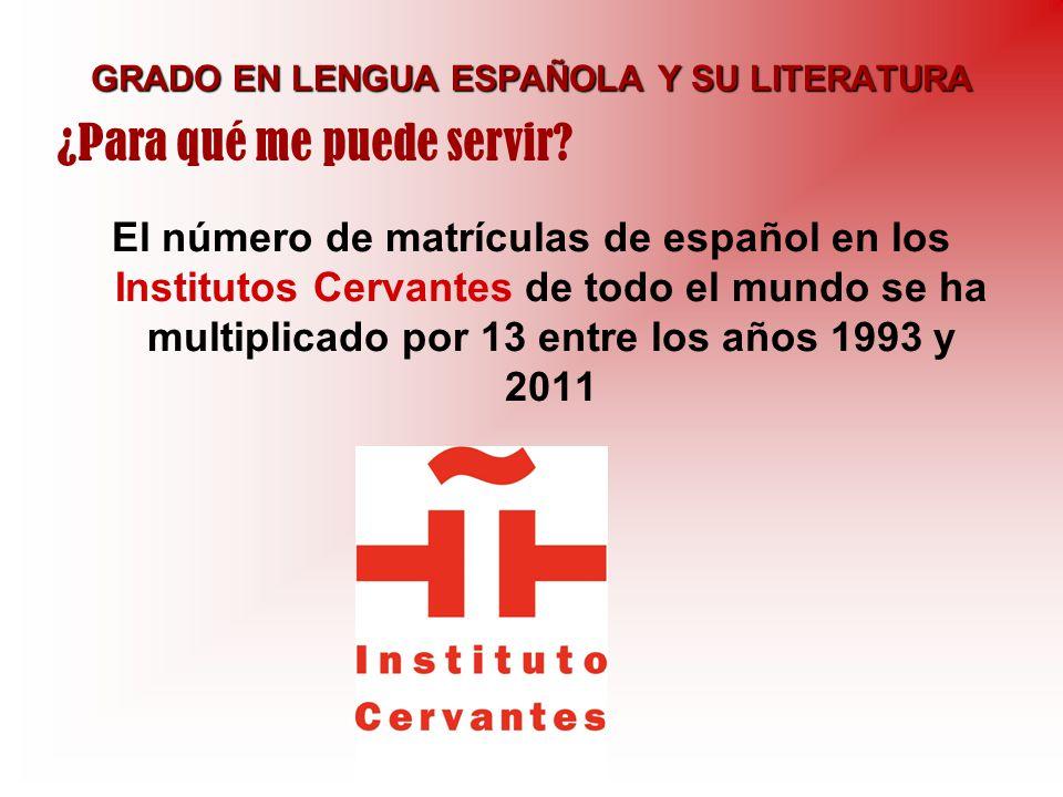 GRADO EN LENGUA ESPAÑOLA Y SU LITERATURA El número de matrículas de español en los Institutos Cervantes de todo el mundo se ha multiplicado por 13 ent