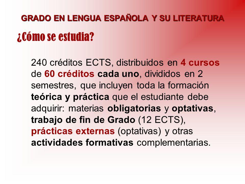 GRADO EN LENGUA ESPAÑOLA Y SU LITERATURA 240 créditos ECTS, distribuidos en 4 cursos de 60 créditos cada uno, divididos en 2 semestres, que incluyen t