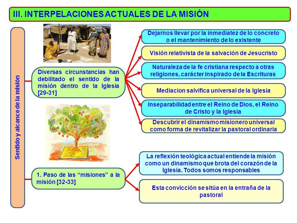 III. INTERPELACIONES ACTUALES DE LA MISIÓN Sentido y alcance de la misión Diversas circunstancias han debilitado el sentido de la misión dentro de la