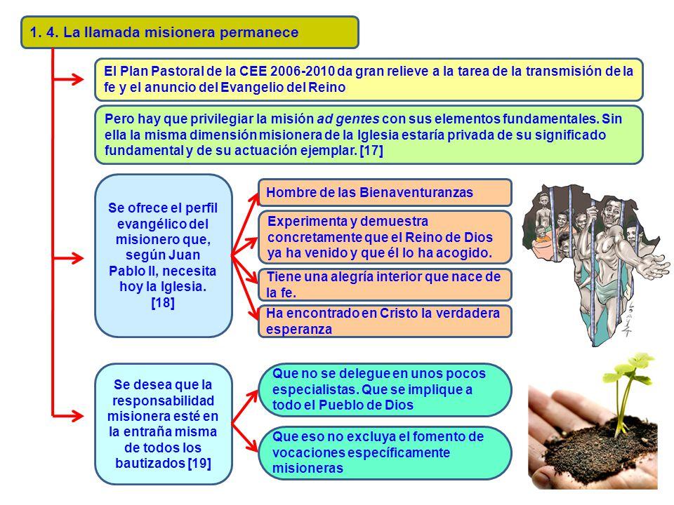 1. 4. La llamada misionera permanece El Plan Pastoral de la CEE 2006-2010 da gran relieve a la tarea de la transmisión de la fe y el anuncio del Evang