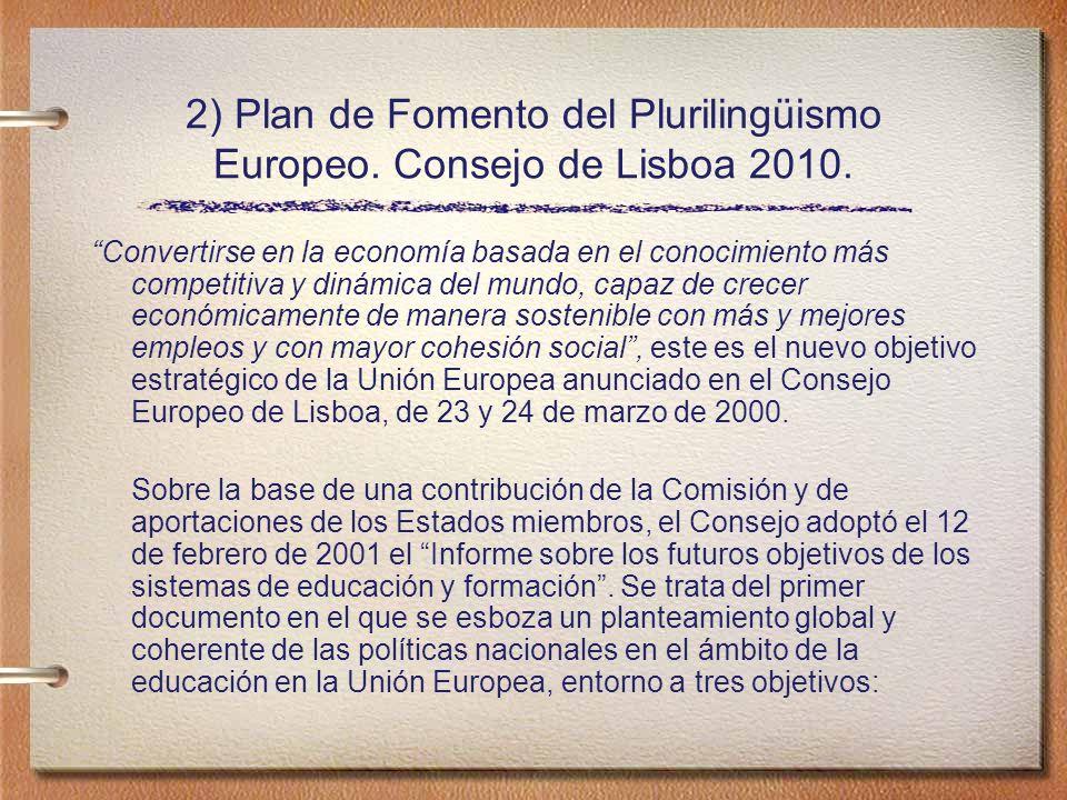 2) Plan de Fomento del Plurilingüismo Europeo.Consejo de Lisboa 2010.