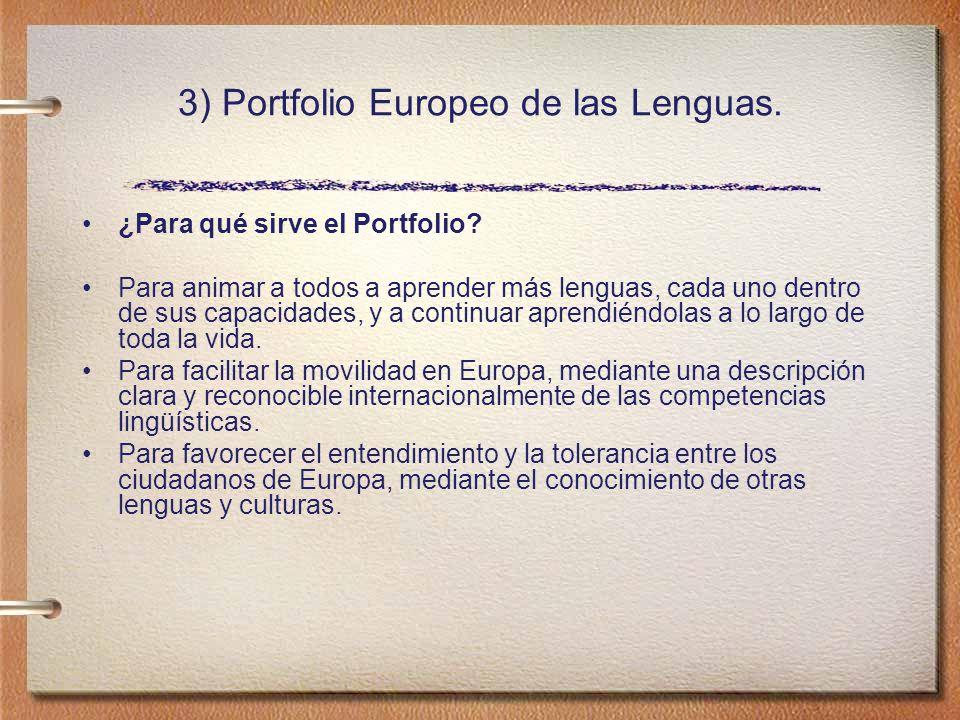 3) Portfolio Europeo de las Lenguas.¿Para qué sirve el Portfolio.