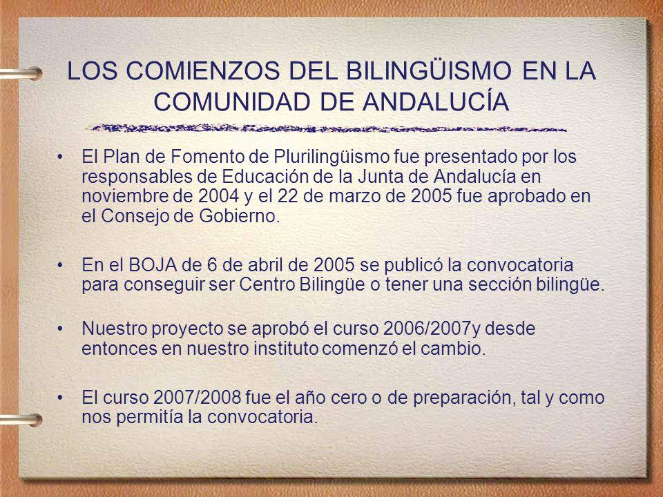 LOS COMIENZOS DEL BILINGÜISMO EN LA COMUNIDAD DE ANDALUCÍA El Plan de Fomento de Plurilingüismo fue presentado por los responsables de Educación de la Junta de Andalucía en noviembre de 2004 y el 22 de marzo de 2005 fue aprobado en el Consejo de Gobierno.