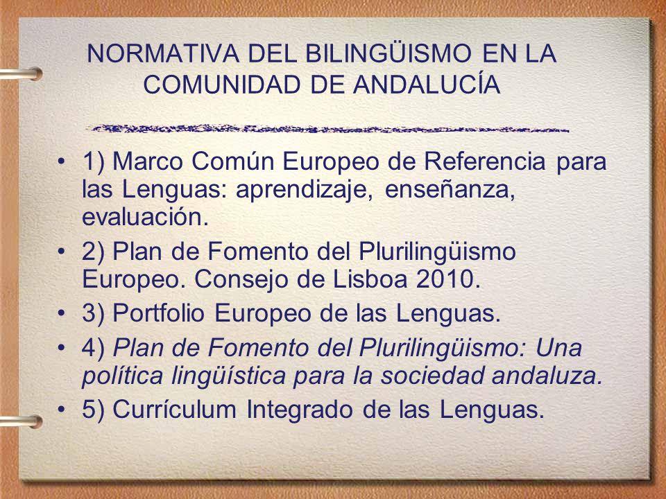 NORMATIVA DEL BILINGÜISMO EN LA COMUNIDAD DE ANDALUCÍA 1) Marco Común Europeo de Referencia para las Lenguas: aprendizaje, enseñanza, evaluación.