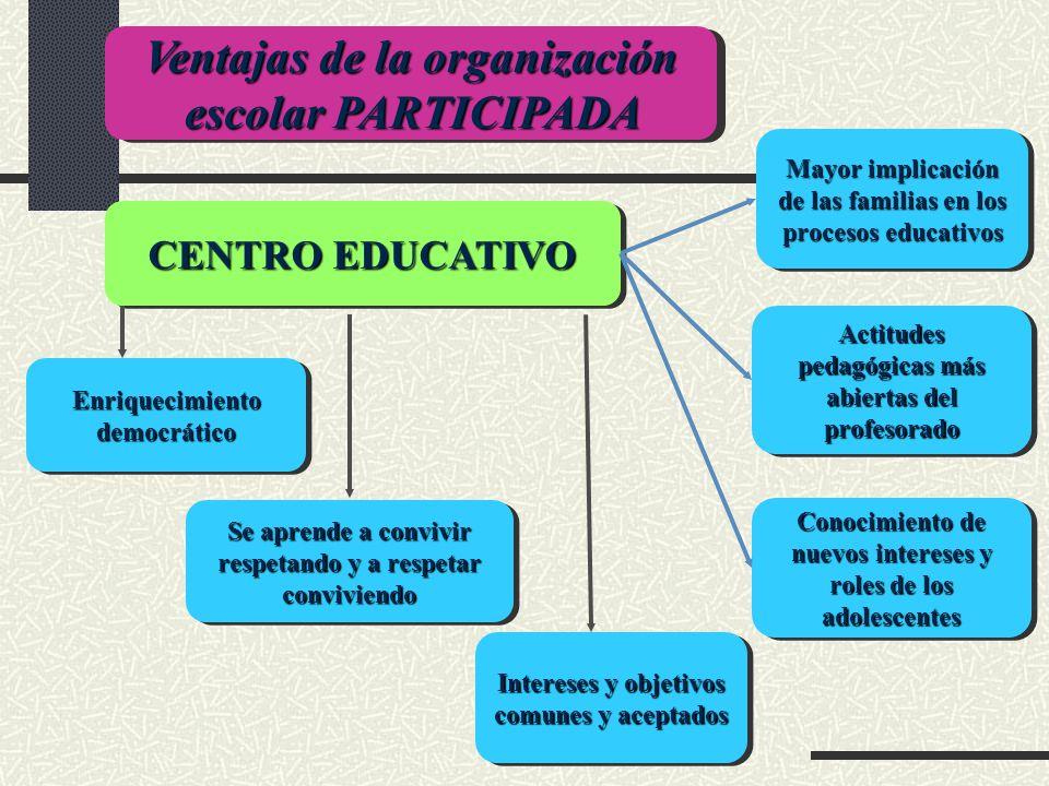 Ventajas de la organización escolar PARTICIPADA CENTRO EDUCATIVO Enriquecimiento democrático Se aprende a convivir respetando y a respetar conviviendo