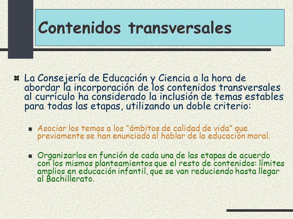 Contenidos transversales La Consejería de Educación y Ciencia a la hora de abordar la incorporación de los contenidos transversales al currículo ha co