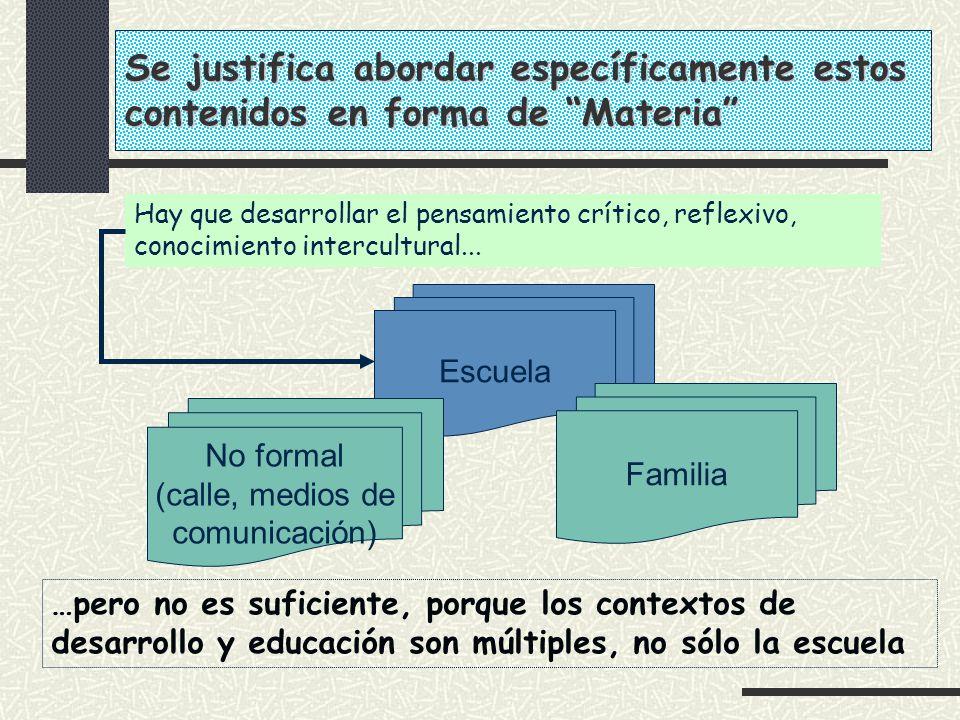 Hay que desarrollar el pensamiento crítico, reflexivo, conocimiento intercultural... Escuela Familia No formal (calle, medios de comunicación) …pero n