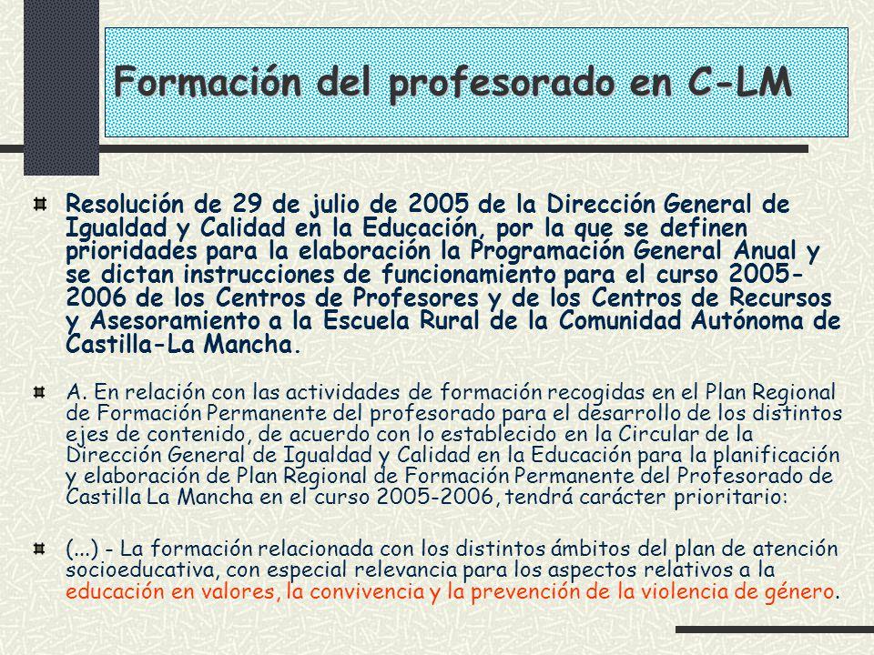 Formación del profesorado en C-LM Resolución de 29 de julio de 2005 de la Dirección General de Igualdad y Calidad en la Educación, por la que se defin