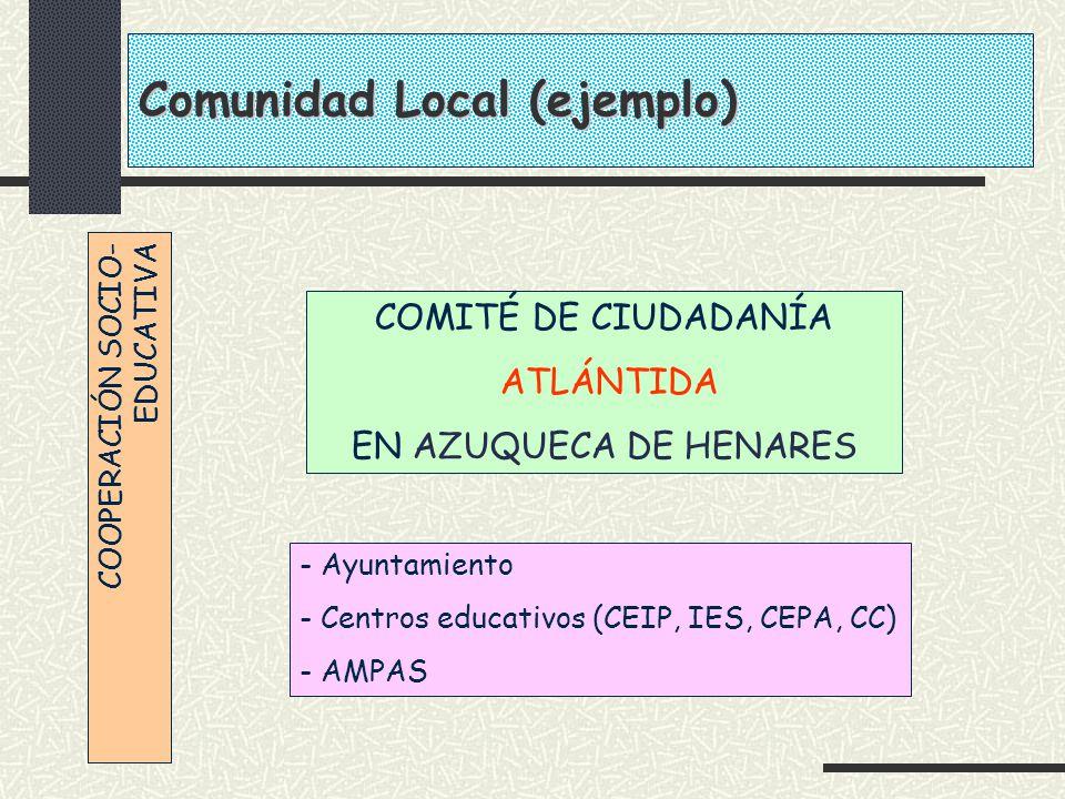 COOPERACIÓN SOCIO- EDUCATIVA COMITÉ DE CIUDADANÍA ATLÁNTIDA EN AZUQUECA DE HENARES - Ayuntamiento - Centros educativos (CEIP, IES, CEPA, CC) - AMPAS C
