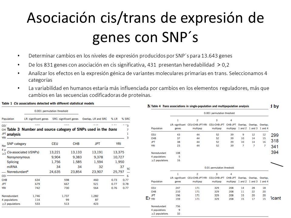 Asociación cis/trans de expresión de genes con SNP´s Determinar cambios en los niveles de expresión producidos por SNP´s para 13.643 genes De los 831