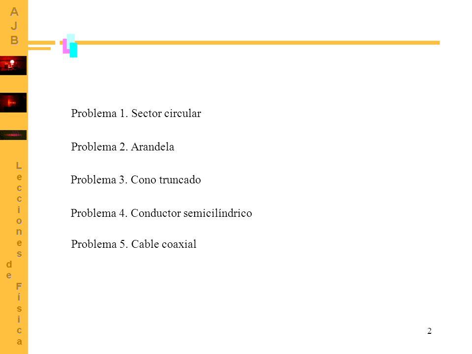 2 Problema 1. Sector circular Problema 2. Arandela Problema 3. Cono truncado Problema 4. Conductor semicilíndrico Problema 5. Cable coaxial