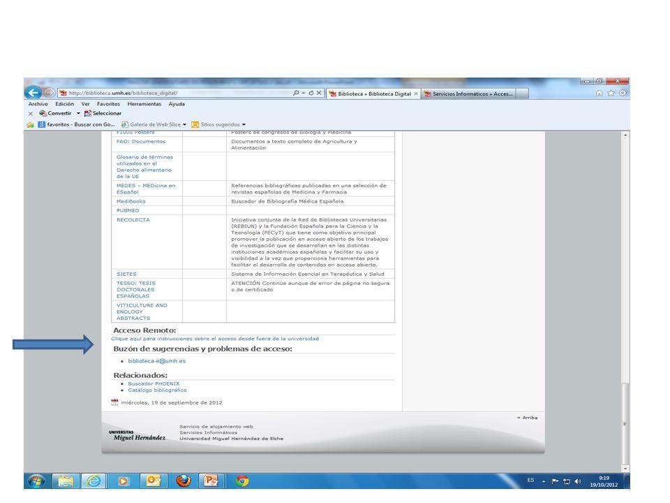 Acceso remoto a los recursos suscritos por la UMH desde la página de Biblioteca, en biblioteca digital