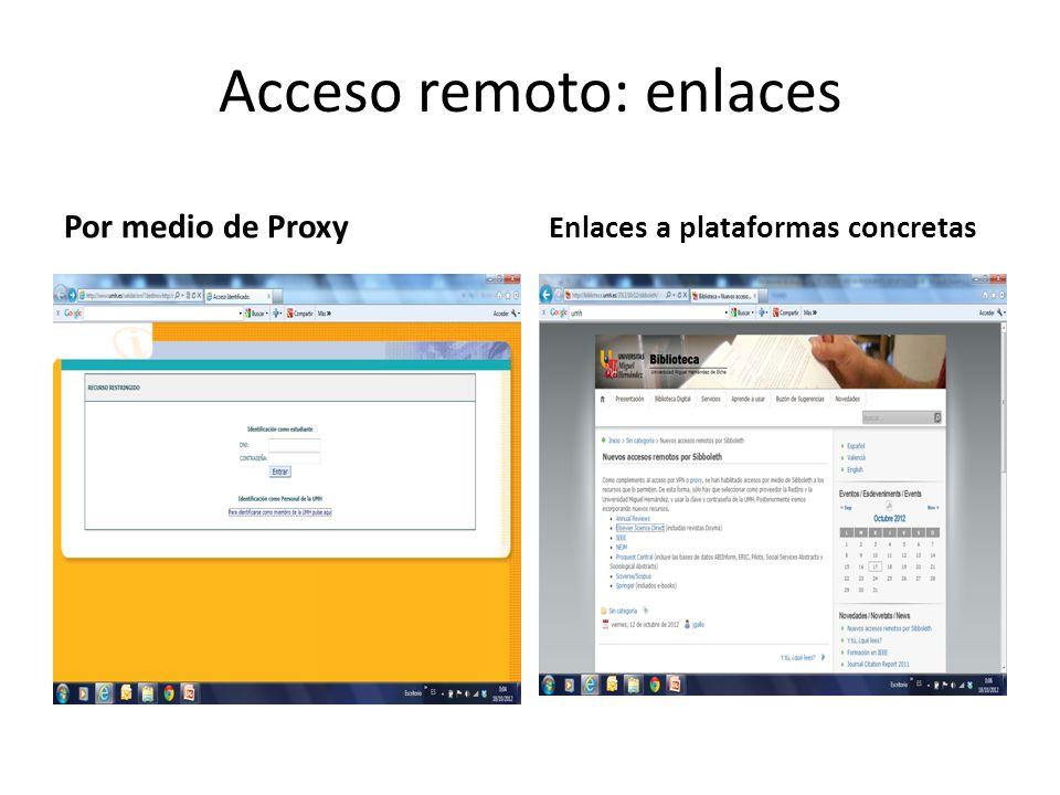 Acceso remoto: enlaces Por medio de Proxy Enlaces a plataformas concretas