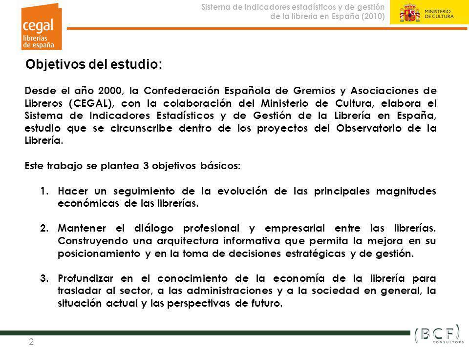 Sistema de indicadores estadísticos y de gestión de la librería en España (2010) Observatorio de la Librería 2 Objetivos del estudio: Desde el año 200