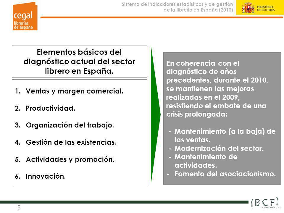 Sistema de indicadores estadísticos y de gestión de la librería en España (2010) Observatorio de la Librería 5 Elementos básicos del diagnóstico actua
