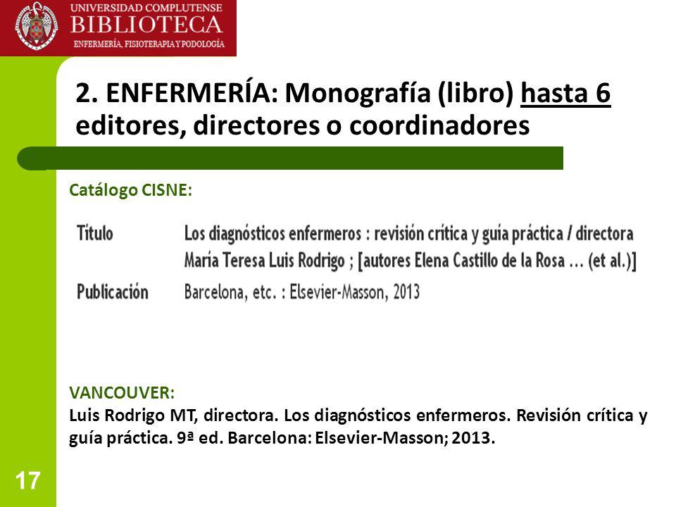 17 2. ENFERMERÍA: Monografía (libro) hasta 6 editores, directores o coordinadores VANCOUVER: Luis Rodrigo MT, directora. Los diagnósticos enfermeros.