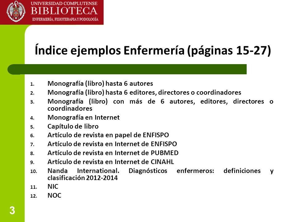 3 Índice ejemplos Enfermería (páginas 15-27) 1. Monografía (libro) hasta 6 autores 2. Monografía (libro) hasta 6 editores, directores o coordinadores