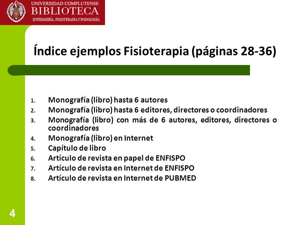5 Índice ejemplos Podología (páginas 37-45) 1.Monografía (libro) hasta 6 autores 2.