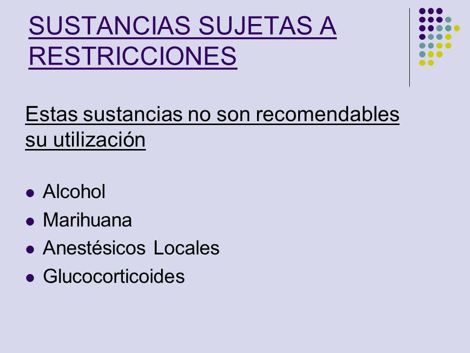 SUSTANCIAS SUJETAS A RESTRICCIONES Alcohol Marihuana Anestésicos Locales Glucocorticoides Estas sustancias no son recomendables su utilización