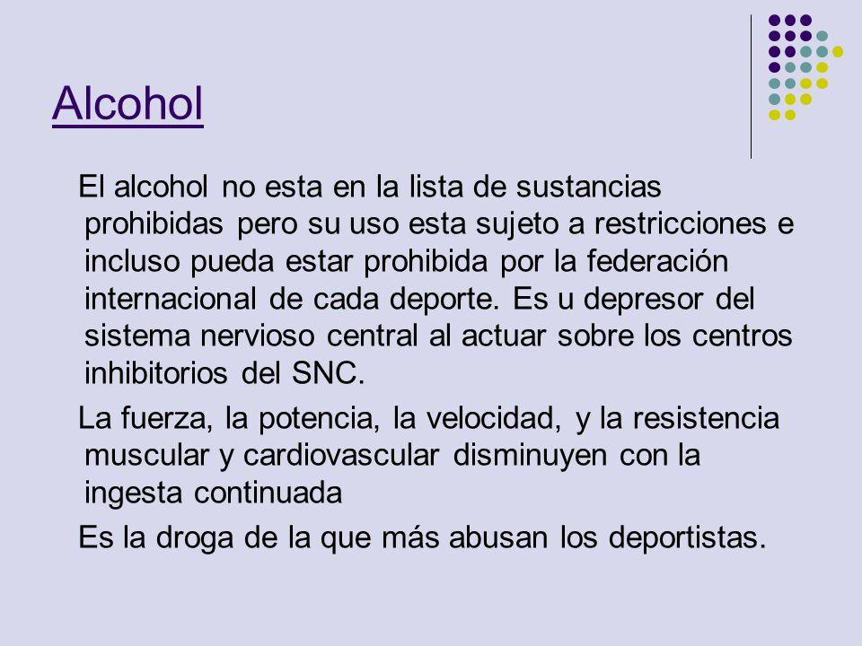 Alcohol El alcohol no esta en la lista de sustancias prohibidas pero su uso esta sujeto a restricciones e incluso pueda estar prohibida por la federac