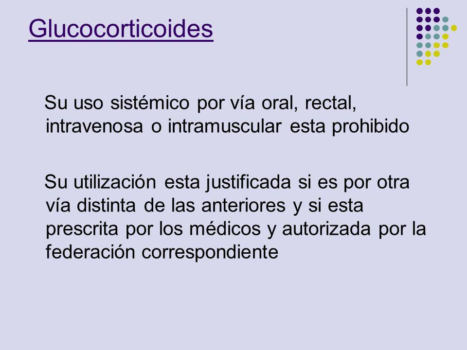 Glucocorticoides Su uso sistémico por vía oral, rectal, intravenosa o intramuscular esta prohibido Su utilización esta justificada si es por otra vía