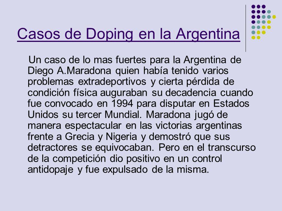 Casos de Doping en la Argentina Un caso de lo mas fuertes para la Argentina de Diego A.Maradona quien había tenido varios problemas extradeportivos y