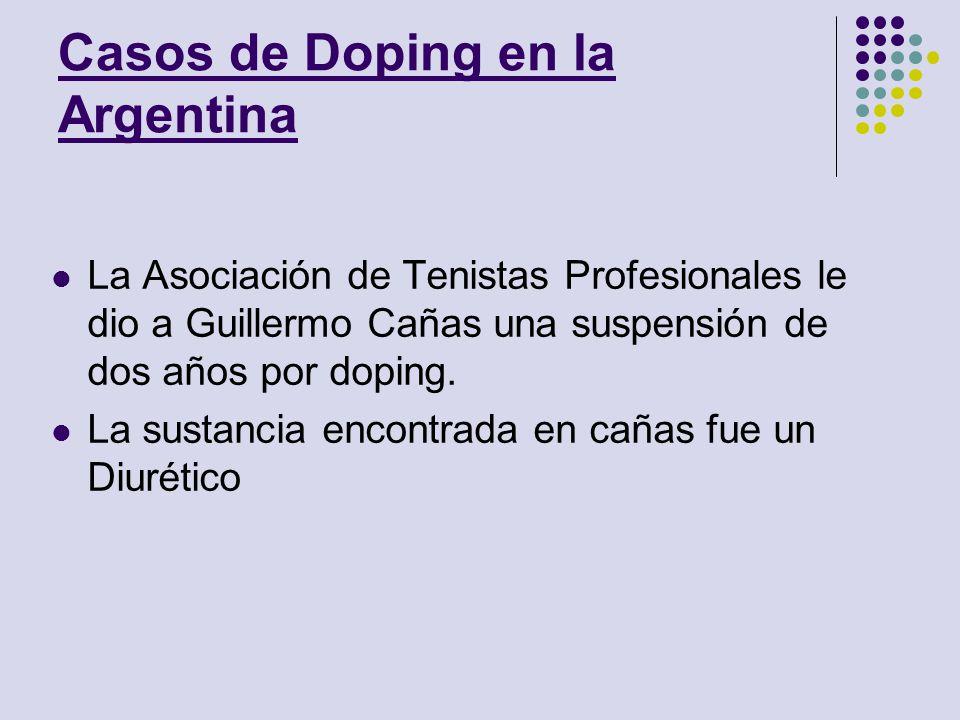 Casos de Doping en la Argentina La Asociación de Tenistas Profesionales le dio a Guillermo Cañas una suspensión de dos años por doping. La sustancia e