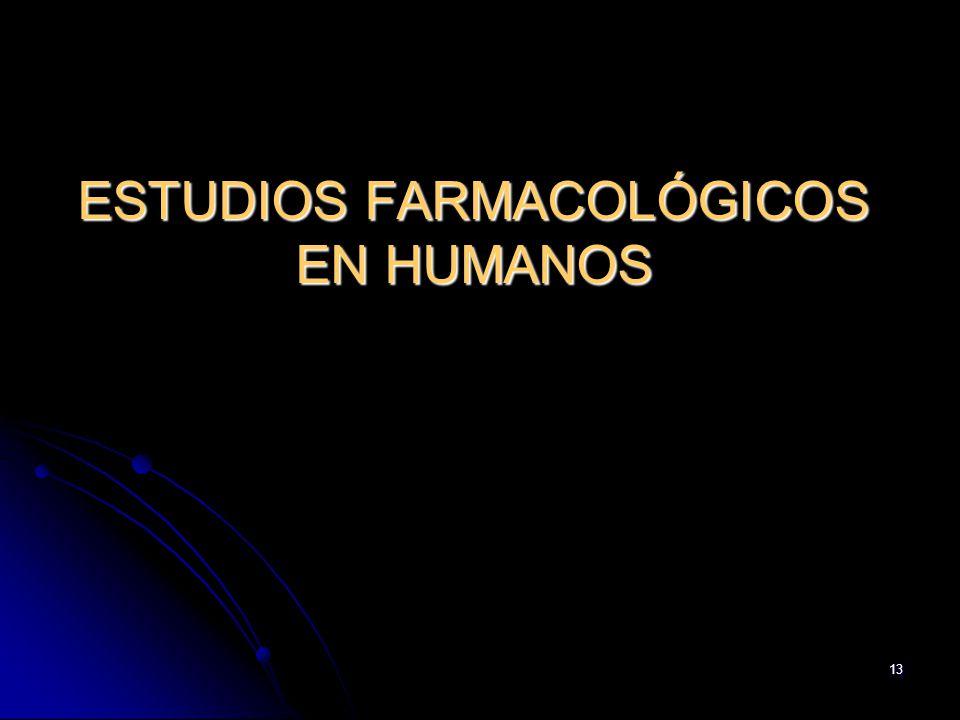 13 ESTUDIOS FARMACOLÓGICOS EN HUMANOS
