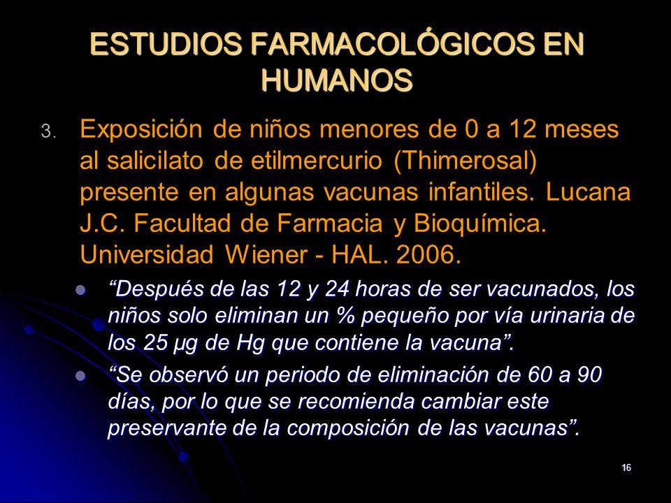 16 ESTUDIOS FARMACOLÓGICOS EN HUMANOS 3. 3. Exposición de niños menores de 0 a 12 meses al salicilato de etilmercurio (Thimerosal) presente en algunas