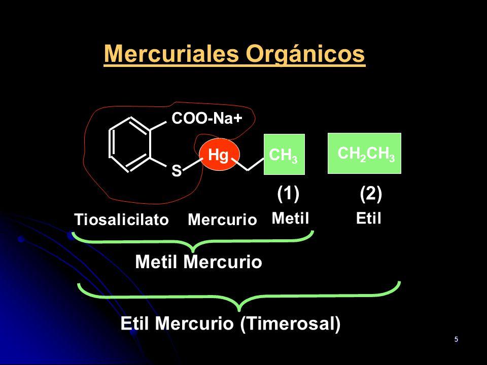 5 Mercuriales Orgánicos COO-Na+ S HgCH 3 TiosalicilatoMercurio CH 2 CH 3 Metil (1) (2) Etil Metil Mercurio Etil Mercurio (Timerosal)