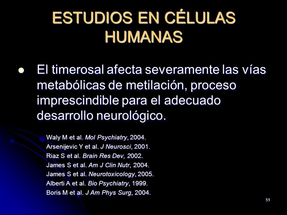 51 ESTUDIOS EN CÉLULAS HUMANAS El timerosal afecta severamente las vías metabólicas de metilación, proceso imprescindible para el adecuado desarrollo