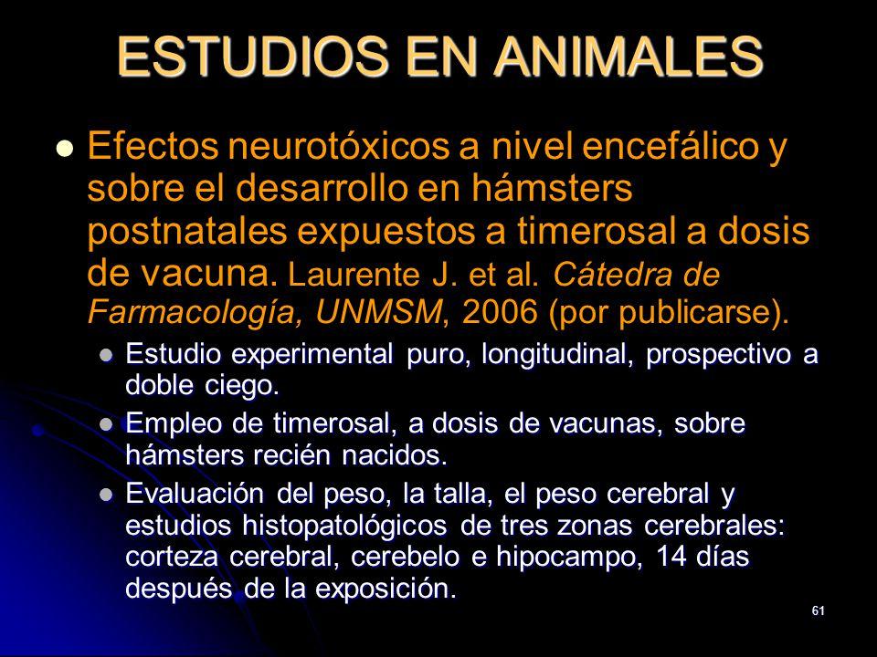 61 ESTUDIOS EN ANIMALES Efectos neurotóxicos a nivel encefálico y sobre el desarrollo en hámsters postnatales expuestos a timerosal a dosis de vacuna.