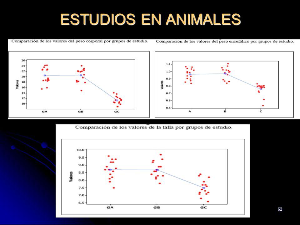 62 ESTUDIOS EN ANIMALES