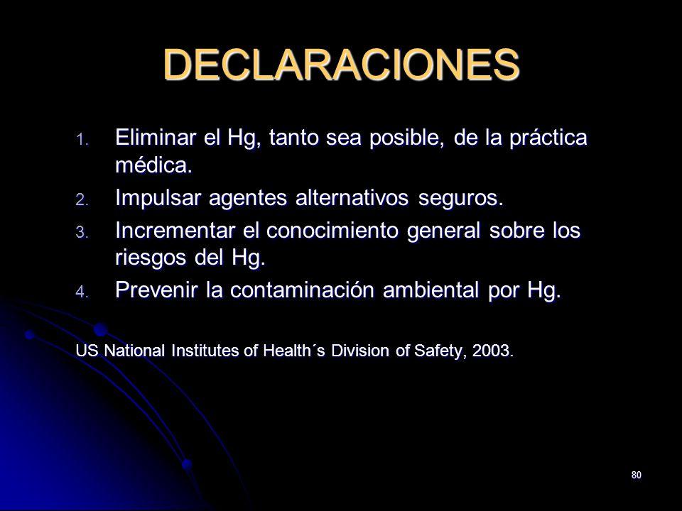 80 DECLARACIONES 1. Eliminar el Hg, tanto sea posible, de la práctica médica. 2. Impulsar agentes alternativos seguros. 3. Incrementar el conocimiento