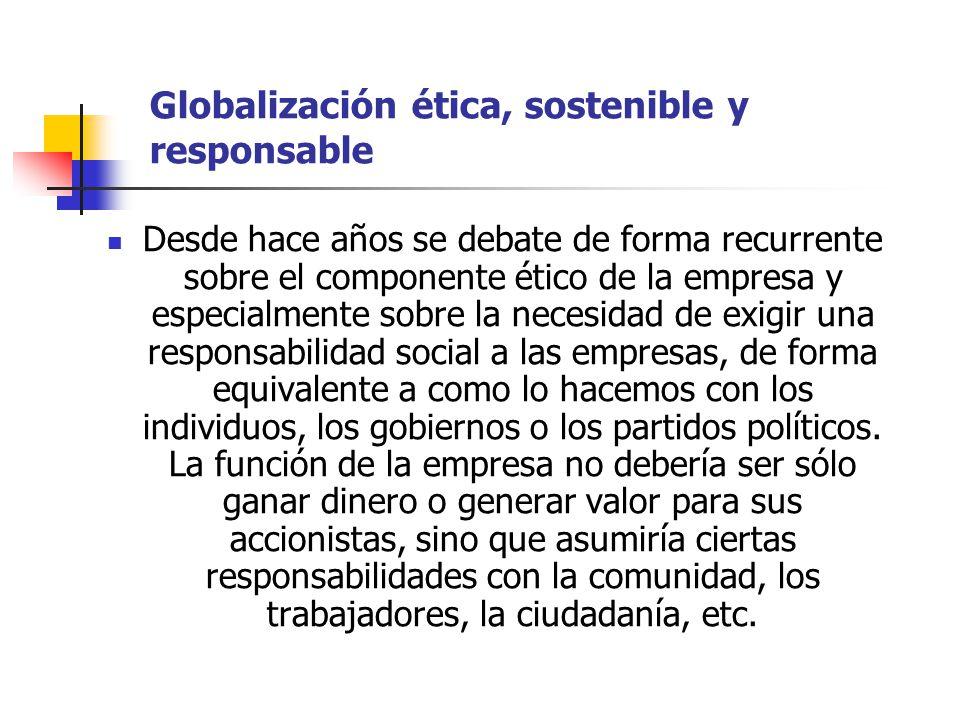 Globalización ética, sostenible y responsable Desde hace años se debate de forma recurrente sobre el componente ético de la empresa y especialmente so