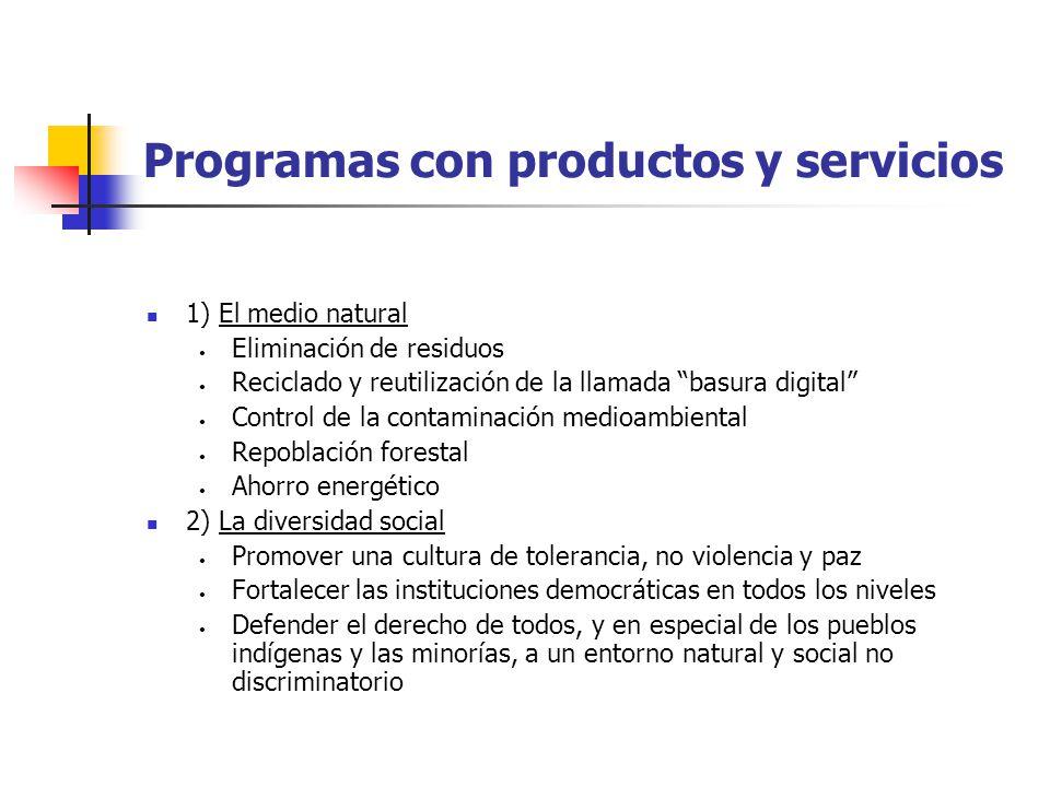Programas con productos y servicios 1) El medio natural Eliminación de residuos Reciclado y reutilización de la llamada basura digital Control de la c