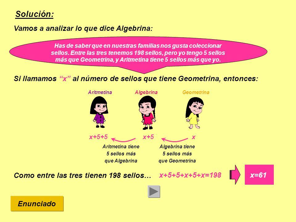 Solución: AlgebrinaGeometrinaAritmetina Así que ya sabemos cuántos sellos tiene cada una de las amigas: xx+5x+5+5 x=61x=66x=71 ¿SEGUIMOS.