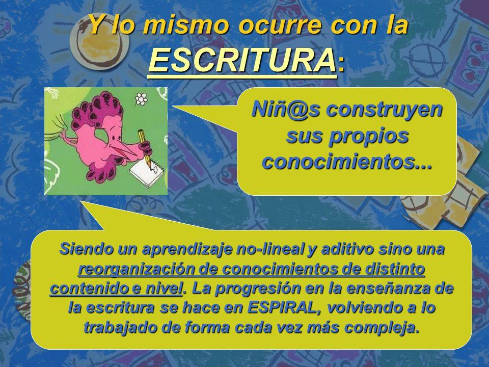 Y lo mismo ocurre con la ESCRITURA : Niñ@s construyen sus propios conocimientos...