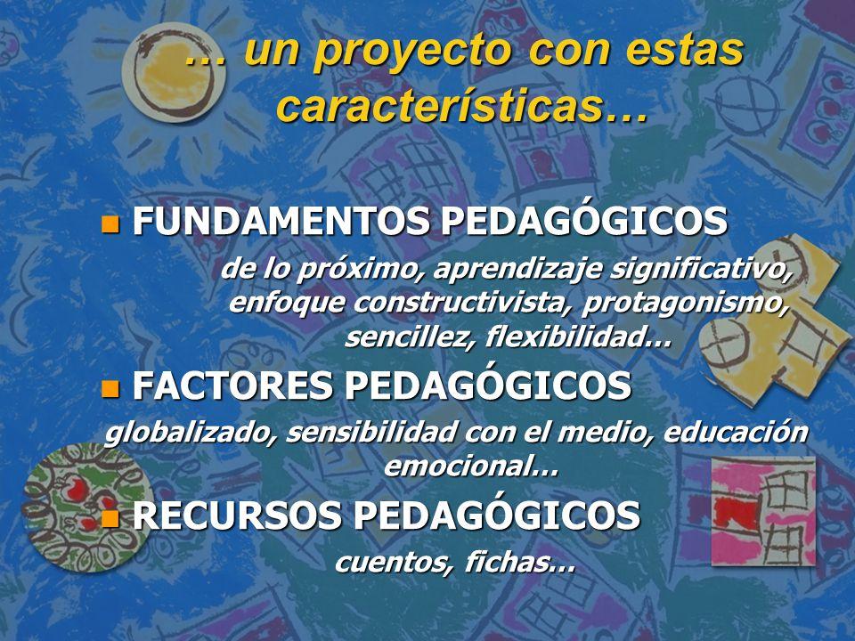 … un proyecto con estas características… n FUNDAMENTOS PEDAGÓGICOS de lo próximo, aprendizaje significativo, enfoque constructivista, protagonismo, sencillez, flexibilidad… de lo próximo, aprendizaje significativo, enfoque constructivista, protagonismo, sencillez, flexibilidad… n FACTORES PEDAGÓGICOS globalizado, sensibilidad con el medio, educación emocional… n RECURSOS PEDAGÓGICOS cuentos, fichas…