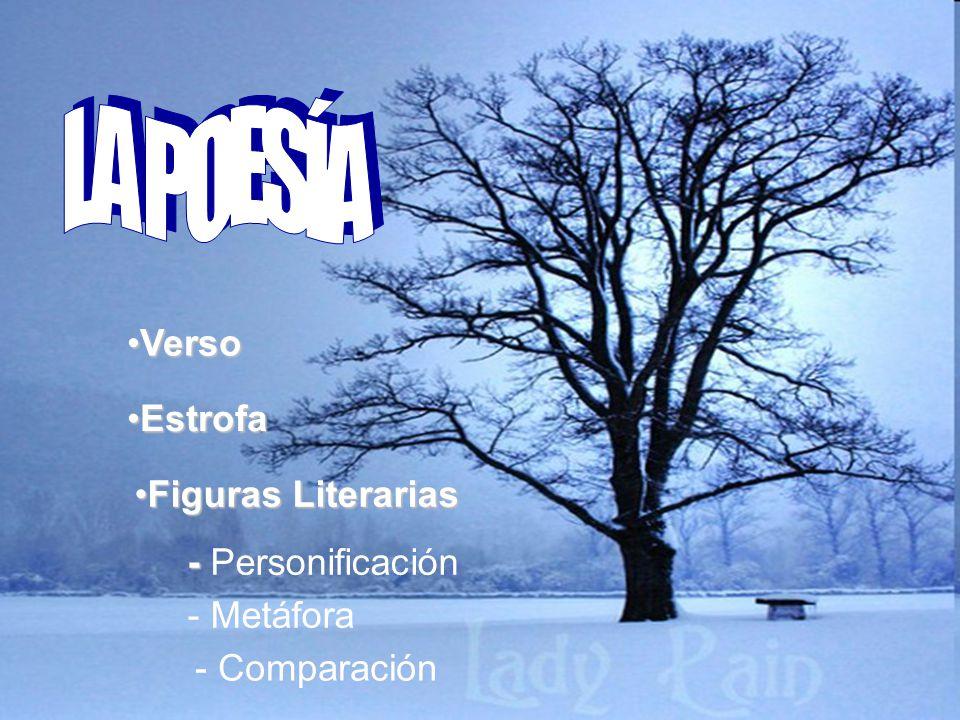VersoVerso EstrofaEstrofa Figuras LiterariasFiguras Literarias - - Personificación - Metáfora - Comparación