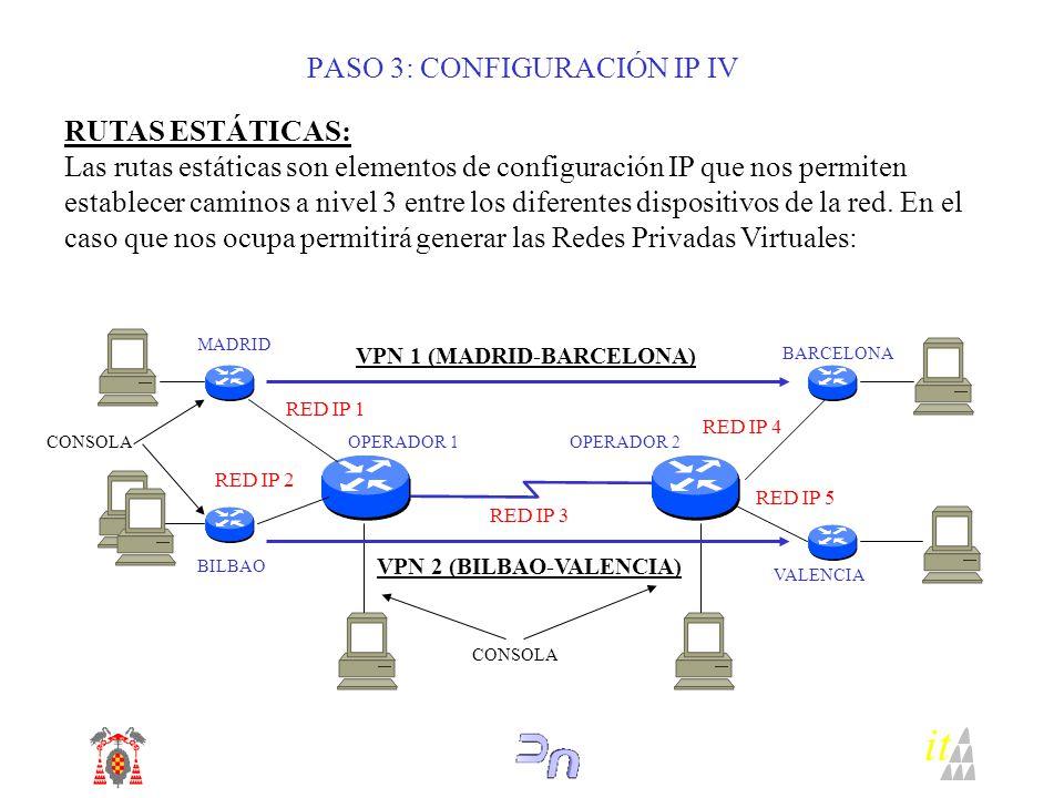 PASO 3: CONFIGURACIÓN IP IV RUTAS ESTÁTICAS: Las rutas estáticas son elementos de configuración IP que nos permiten establecer caminos a nivel 3 entre