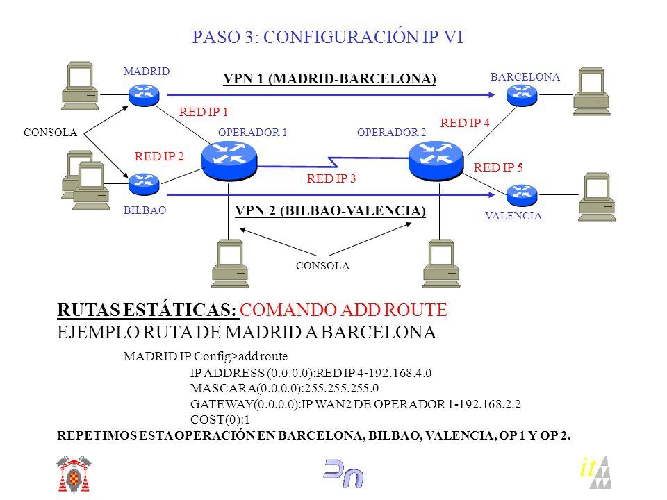 PASO 3: CONFIGURACIÓN IP VI RUTAS ESTÁTICAS: COMANDO ADD ROUTE EJEMPLO RUTA DE MADRID A BARCELONA MADRID IP Config>add route IP ADDRESS (0.0.0.0):RED