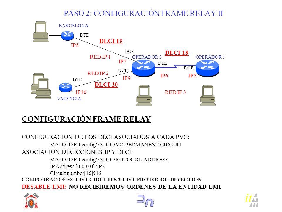 it PASO 2: CONFIGURACIÓN FRAME RELAY II OPERADOR 2 BARCELONA RED IP 1 RED IP 2 RED IP 3 DTE VALENCIA DCE DTE DCE DLCI 19 DLCI 20 DLCI 18 IP8 IP7 IP10