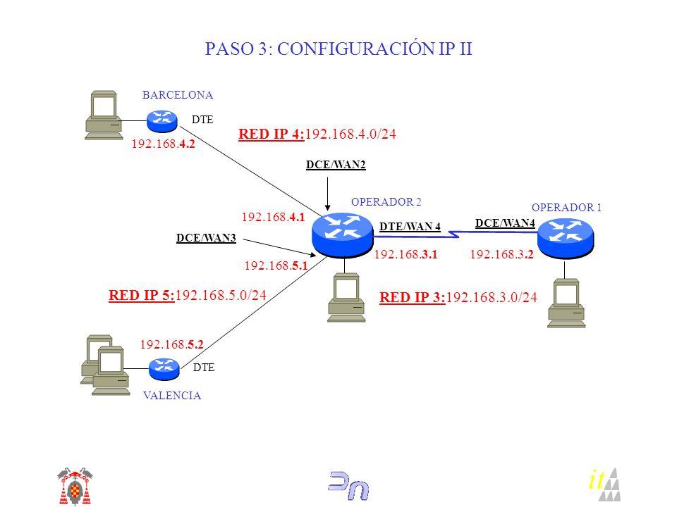it OPERADOR 2 BARCELONA DTE VALENCIA DCE/WAN2 DTE DCE/WAN3 RED IP 4:192.168.4.0/24 OPERADOR 1 DTE/WAN 4 DCE/WAN4 192.168.4.2 192.168.4.1 RED IP 5:192.