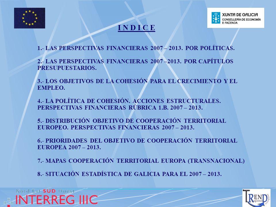 I N D I C E 1.- LAS PERSPECTIVAS FINANCIERAS 2007 – 2013. POR POLÍTICAS. 2.- LAS PERSPECTIVAS FINANCIERAS 2007 –2013. POR CAPÍTULOS PRESUPUESTARIOS. 3