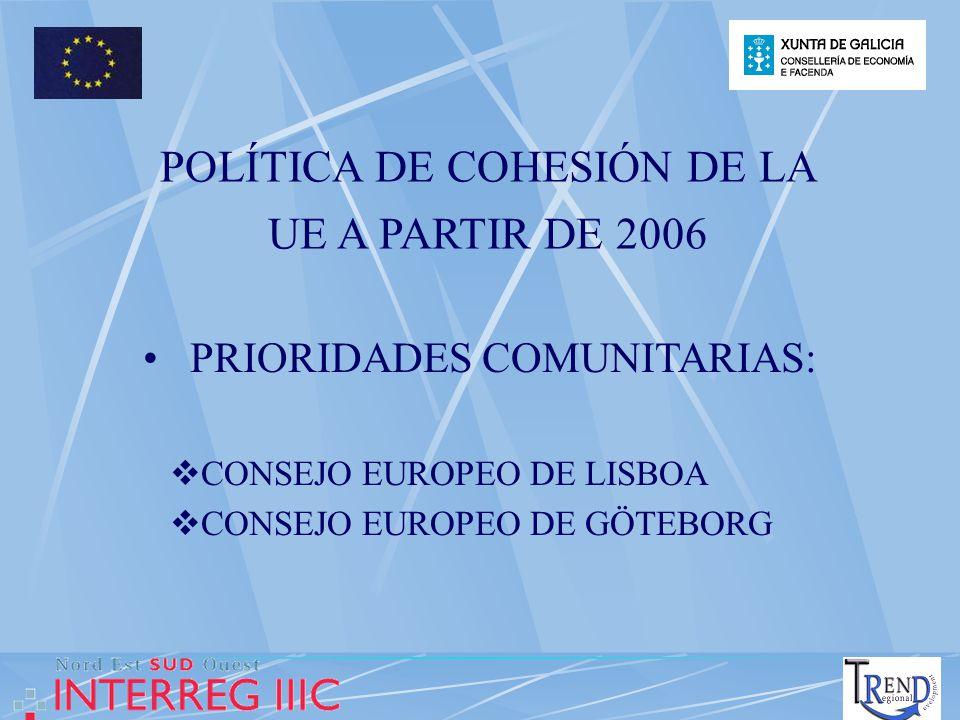 POLÍTICA DE COHESIÓN DE LA UE A PARTIR DE 2006 PRIORIDADES COMUNITARIAS: CONSEJO EUROPEO DE LISBOA CONSEJO EUROPEO DE GÖTEBORG