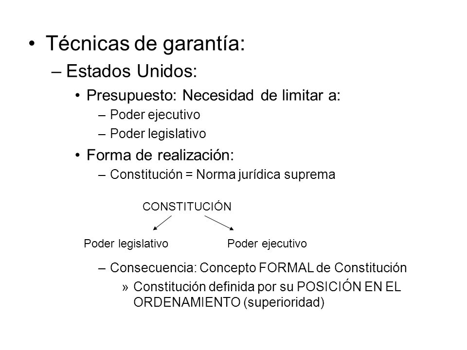Técnicas de garantía: –Estados Unidos: Presupuesto: Necesidad de limitar a: –Poder ejecutivo –Poder legislativo Forma de realización: –Constitución =
