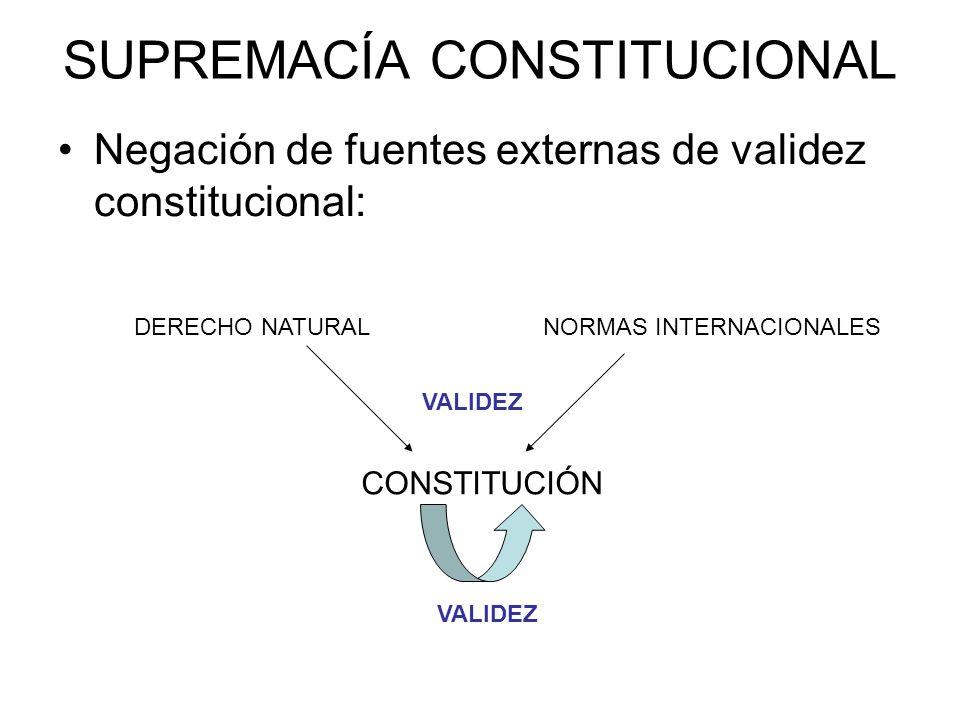SUPREMACÍA CONSTITUCIONAL Autovalidez constitucional: –Artículo 9.1 CE: Los ciudadanos y los poderes públicos están sujetos a la Constitución y al resto del ordenamiento jurídico.
