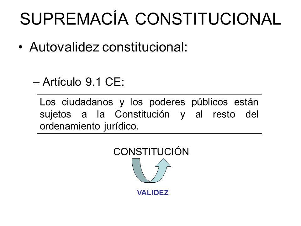 SUPREMACÍA CONSTITUCIONAL Autovalidez constitucional: –Artículo 9.1 CE: Los ciudadanos y los poderes públicos están sujetos a la Constitución y al res