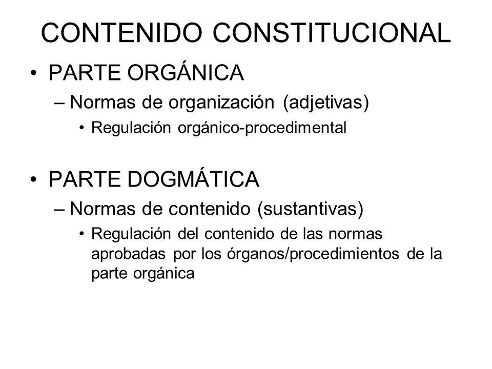 CONTENIDO CONSTITUCIONAL PARTE ORGÁNICA –Normas de organización (adjetivas) Regulación orgánico-procedimental PARTE DOGMÁTICA –Normas de contenido (su